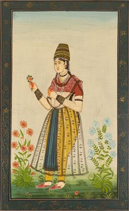 Sale 9164H - Lot 29 - A Mughal school painting on thin cloth, mounted on board, 82cm x 51cm