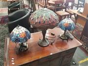 Sale 8676 - Lot 1148 - Pair of Leadlight Shade Table Lamps & Another (3)