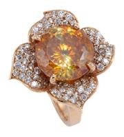 Sale 8937 - Lot 388 - AN 18CT ROSE GOLD DIAMOND AND GEMSET DAISY RING; centring an approx. 10ct round brilliant cut sphalerite surrounded by 4 petals set...