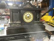 Sale 9048 - Lot 1034 - Victorian Slate Mantle Clock, of architectural with three cupolas, the centre enamelled chapter ring flanked by columned niched with...