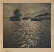 Sale 9067 - Lot 598 - Harold Pierce Cazneaux (1978 - 1953) - Foggy Morning, Circular Quay, c1913 18.5 x 19.5 cm (frame: 35 x 35 x 2 cm)