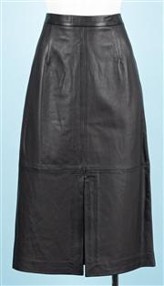 Sale 9083F - Lot 32 - AN IRIS & INK BLACK LEATHER MELENA SPLIT-FRONT PENCIL SKIRT; approx. size 10, new never worn with tags.