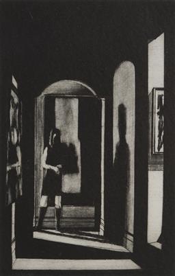 Sale 9116 - Lot 509 - John Drawbridge (1930 - 2005) Interior with Tanya mezzotint ed. 24/100 25 x 16.5 cm (frame: 80 x 61 x 2 cm) signed lower right