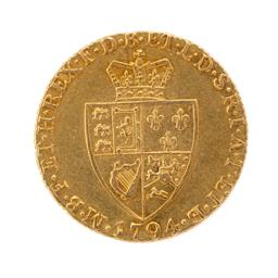 Sale 9130E - Lot 16 - A George III 22 carat gold spade guinea proclamation coin dated 1794, Weight 8.32g