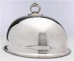 Sale 9245R - Lot 60 - An antique English silverplate meat dish cover, C: 1890s, with bead edge decoration and fitted with a ring to the inner edge so tha...