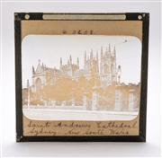Sale 8376A - Lot 24 - Sixarly photographic glass slides of Australian landmarks inc. Town Hall, General Post Office Sydney, Saint Andrews Cathedral & Tasm...