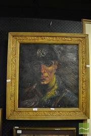 Sale 8458 - Lot 2063 - Herbert Mclintoch, The Miner, 1944, oil on canvas (AF), 58.5 x 55.5cm (frame size), signed and dated upper right
