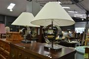 Sale 8507 - Lot 1039 - Pair of Modernist Chrome Base Table Lamps