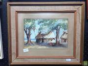 Sale 8622 - Lot 2077 - Signed Polynesian Watercolour