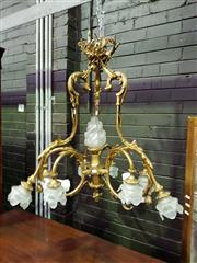 Sale 8653 - Lot 1087 - Good Rococo Style Brass Chandelier, with ribbon tied crown suspending three scrolled arms each with three floral glass shades, the c...