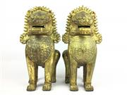 Sale 8995H - Lot 21 - A pair of heavy gilt bronze dogs of foo, height 32cm