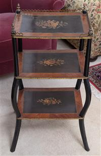 Sale 8963H - Lot 43 - A Napoleon III rosewood and ebonised etagere, of three shelves, with brass galleried top, Height 77cm x Width 42cm x Depth 33cm