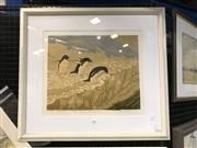 Sale 8990 - Lot 2006 - Pat Rowley, Indecision-Adelie Penguins, linocut ed.8/13, 59 x 67 cm, signed lower left