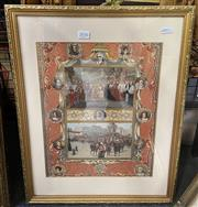 Sale 9011 - Lot 2036 - Artist Unknown, The Coronation of Queen Victoria, illuminated lithograph, frame; 49 x 39 cm