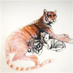 Sale 9063A - Lot 5012 - Margaret Woodward (1938 -) - Tiger with Cubs, 1992 120 x 120 cm (frame: 131 x 130 cm)