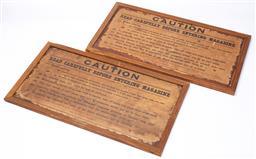 Sale 9130E - Lot 100 - Pair of guard room caution signs, frame size 34.5cm x 65cm