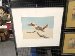 Sale 9152 - Lot 2024 - G.A Wright Kookaburra, 1925, watercolour, frame: 54 x 62 cm, signed and dated lower right -