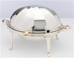 Sale 9245R - Lot 61 - Quality antique silverplate serving dish, Atkin Brothers, Sheffield C: 1890, the 12 panelled roll over lid fitted with an ivory knob...