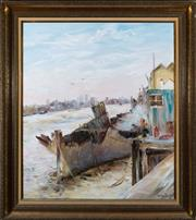 Sale 8379A - Lot 7 - Tessa Perceval - Salvaging a wreck on the Thames at Wapping 81 x 69cm