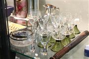 Sale 8360 - Lot 80 - Etched Crystal Drink Suite With Coloured Bases and Other Glasswares Incl Silver Plate Handled Jug