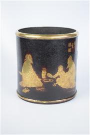 Sale 8381 - Lot 110 - Metal Brushpot with Gilt Detailing