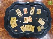 Sale 8485 - Lot 1007 - Ebonised Tole Tray with Card Games Theme, monogrammed to reverse HW & dated 1998