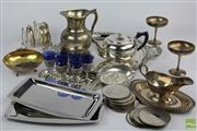 Sale 8505 - Lot 95 - Grenadier Silversmith Plated Goblets with Other Plated Wares inc Dishes Platters and Cups