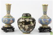 Sale 8586 - Lot 27 - Cloisonne Vases And Lidded Urn On Stands