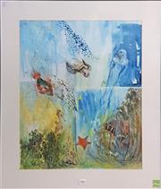 Sale 8592 - Lot 2017 - Artist Unknown Aquatic Life, watercolour, 90 x 80cm (frame) signed lower left