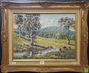 Sale 8600 - Lot 2013 - Arthur Grant Grazing by the River, oil on board, signed lower left