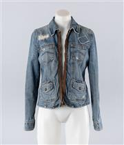 Sale 8760F - Lot 48 - An Armani Exchange denim jacket with exposed leather zip detail, size medium
