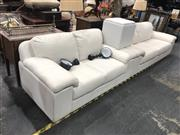 Sale 8868 - Lot 1179 - White Leather 3 Piece Lounge Suite inc 3 Seater 2 Seater and Footstool
