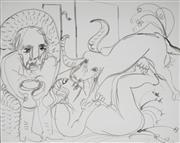 Sale 8938 - Lot 568 - Arthur Boyd (1920 - 1999) - Untitled (Ram & Two Figures) 50 x 62 cm