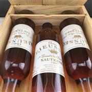Sale 9905Z - Lot 302 - 3x 1996 Chateau Rieussec, 1er Cru Classe, Sauternes - 375ml half-bottles in original wooden case