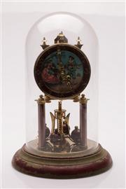 Sale 9049 - Lot 23 - Schatz Dome Clock with Minstrel Scene to Face (H: 30cm)