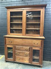 Sale 9068 - Lot 1060 - Timber Victorian Pine Secretaire Bookcase, of wide proportions, with two glass panel doors, fitted secretaire drawer, three further...