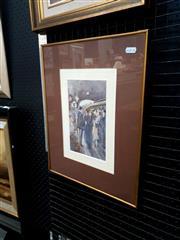 Sale 9061 - Lot 2026 - Artist Unknown - Crowded Train Station 32.5 x 13.5 cm (frame: 44 x 32 x 2 cm)