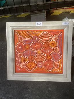 Sale 9101 - Lot 2046 - Maggie Williams Tingari Dreaming acrylic on canvas board 25 x 26cm (frame) -