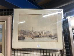 Sale 9152 - Lot 2088 - Albert Collins Tug Boat in the Harbour and Cityscape, 1925 watercolour 35 x 44cm (frame) -