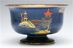 Sale 9173 - Lot 42 - A Carlton ware blue glazed centre bowl with Asian scenes (Dia 21cm)