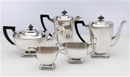 Sale 9245R - Lot 62 - A quality Hecworth silverplate 5 piece tea and coffee service C: 1940s, comprising teapot, coffee and hot water pots, milk jug and ...