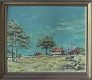 Sale 8319 - Lot 309 - An original oil painting featuring an Australian sheepstation in landscape, signed and dated 1970
