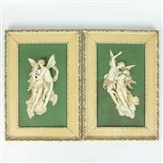 Sale 8412A - Lot 85 - Pair Of Figural Group Plaques height - 40cm