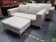 Sale 8495F - Lot 1082 - Leather 3 Piece Lounge Suite inc 2 and 3 Seater Lounges and Ottoman