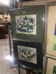 Sale 8751 - Lot 2060 - Alision Moll (2 works) Waterbirds and Sheep, 1986 watercolours, each 48 x 55cm (frame)/signed lower -