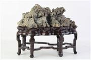 Sale 8818 - Lot 299 - Chinese Scholars Rock on Rosewood Stand (W 20cm)