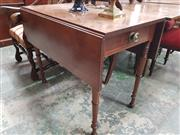 Sale 8868 - Lot 1099 - Regency Mahogany Pembroke Table, the frieze drawer with large brass handle & on turned legs