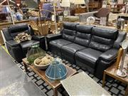 Sale 8876 - Lot 1024 - Black Three Seater Leather Reclining Lounge , w/ Single Reclining Armchair