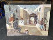 Sale 8888 - Lot 2070 - Artist Unknown - European Town Scene and Artist , oil on board, 78 .5 x 90.5cm, unsigned