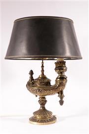 Sale 9015 - Lot 3 - Brass Oil Lamp Form Table Lamp H:53cm (Arm/Socket Loose)